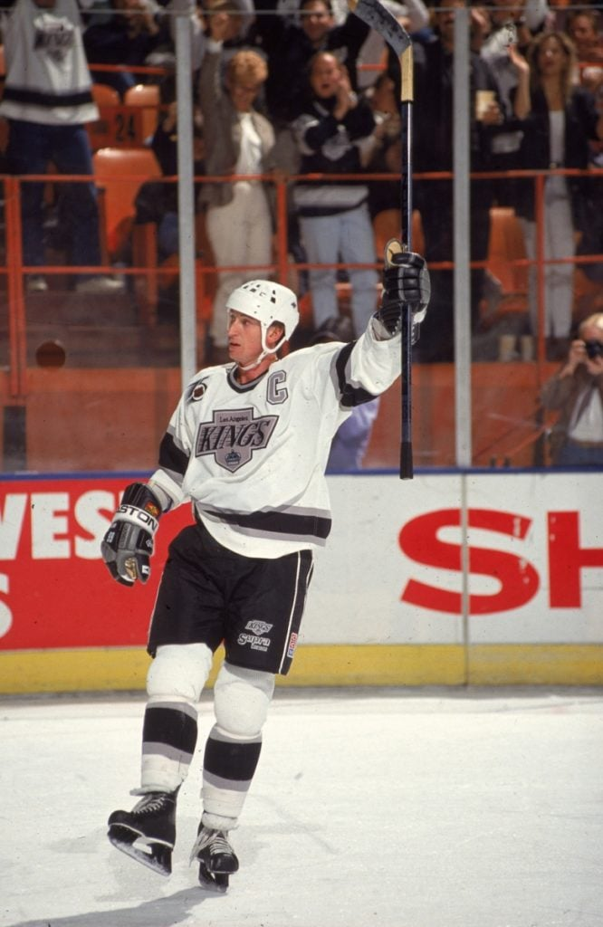 Wayne Gretzky Celebrates On Ice