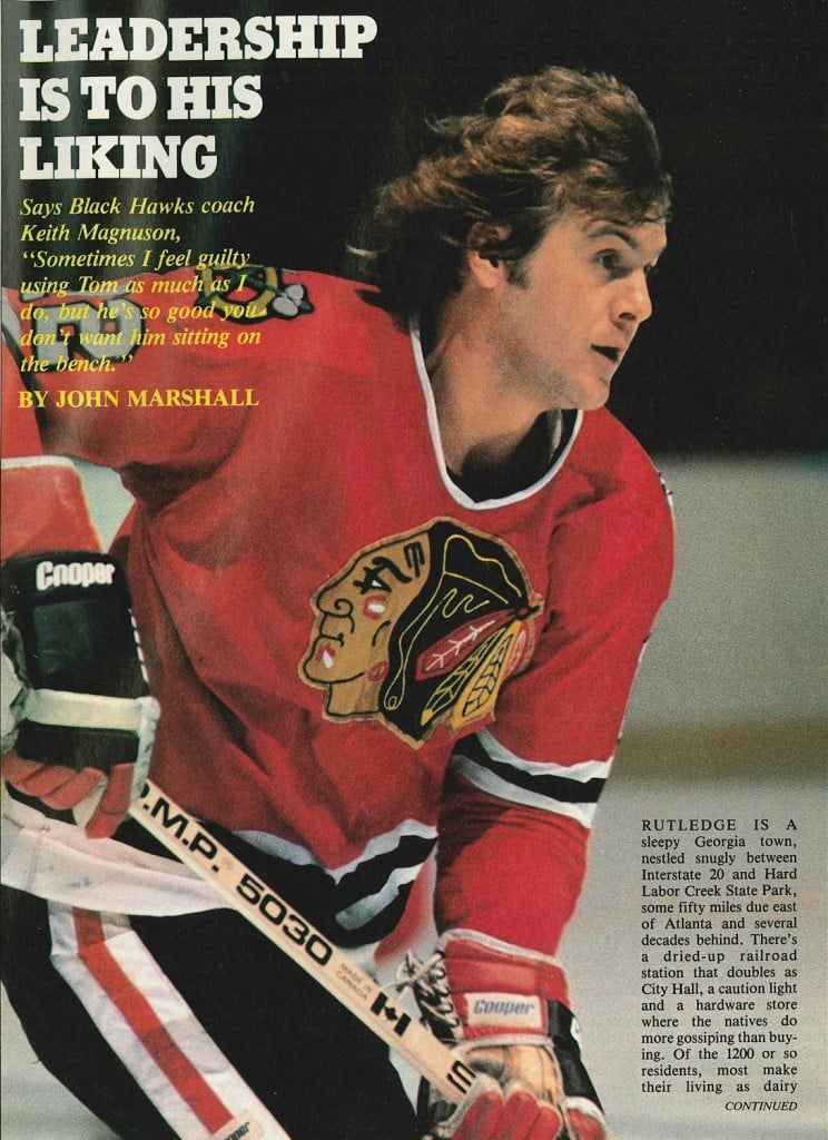 tom lysiak 1980 goal magasine matched jersey