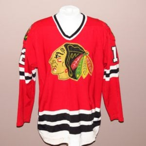 tom lysiak game used jersey chicago black hawks