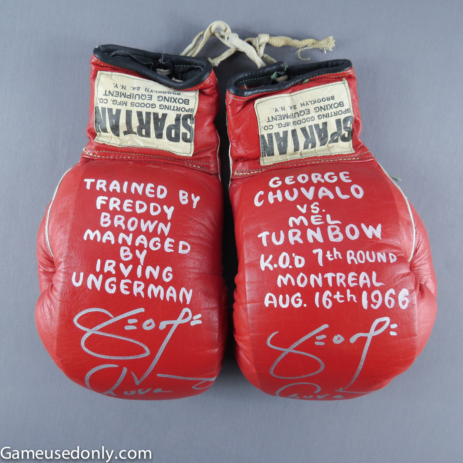 George-Chuvallo-Fight-Worn-Used-Gloves-Mel-Turnbow-Montreal-Canada