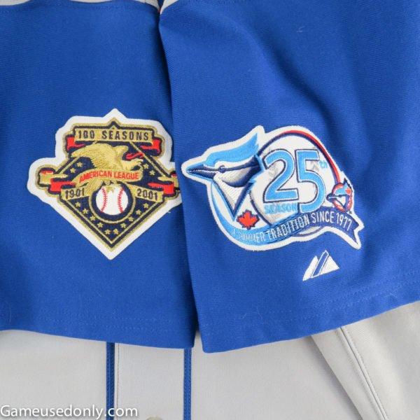 Major-League-Baseball-American-League-100th-Season-Blue-Jays-25th-Season-patched-Jersey-Halladay